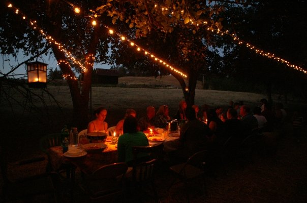 A twilight view of our annual Dinner in the Orchard at our home in Jackson, CA.