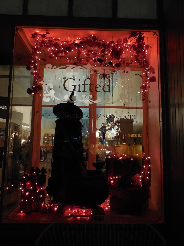 Gifted Halloween Window at Night