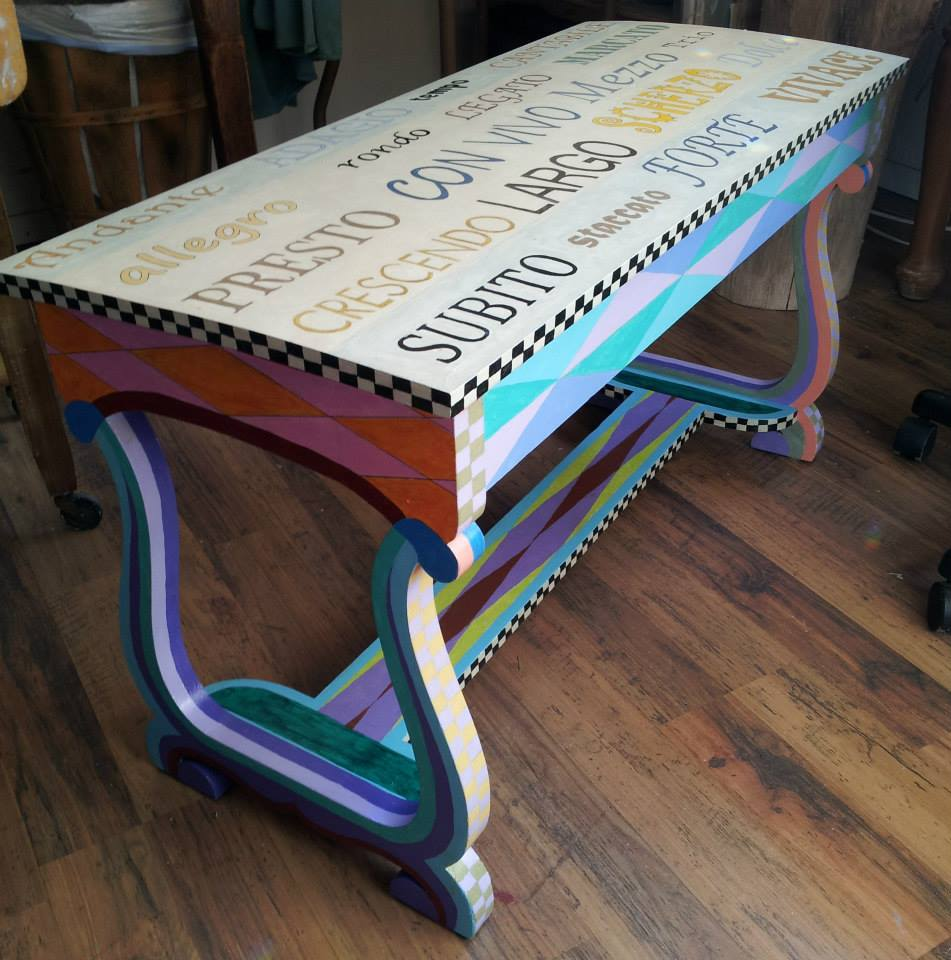 If this is what she does with just the bench, imagine what she has in store for the piano!