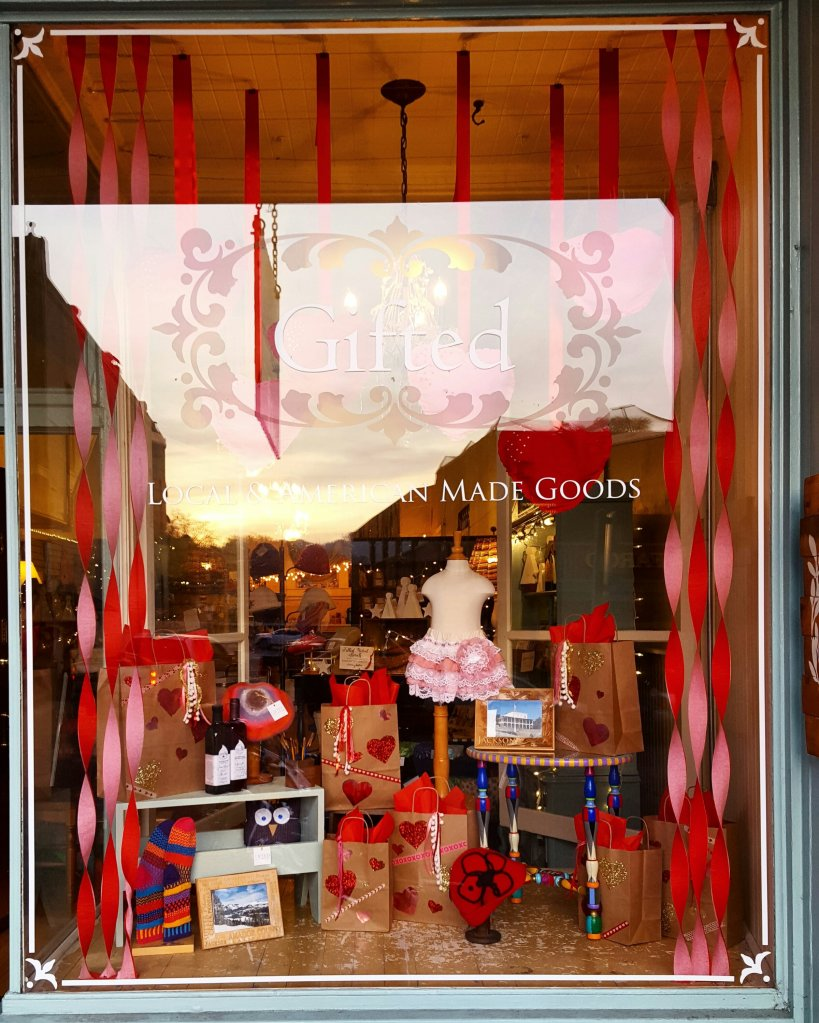 Valentine's Dispaly Window at Gifted in Jackson, California